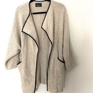 Zara Knit Open Cardigan with Faux Leather Trim